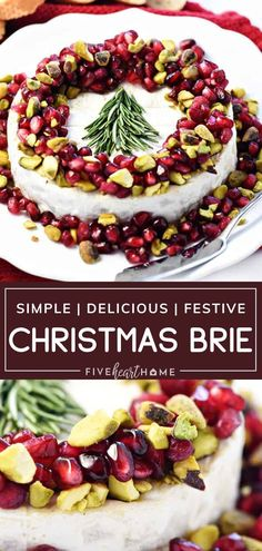Christmas Brie is so quick and easy to throw together! This recipe features a combination of flavors and textures from Brie, pomegranate, pistachios, and it can be beautifully decorated with a rosemary Christmas tree. With its festive holiday theme, this simple appetizer is perfect for Christmas in July! Brie Appetizer, Holiday Appetizers, Holiday Treats, Party Appetizers, Real Food Recipes, Great Recipes, Yummy Food, Favorite Recipes, Simple Recipes
