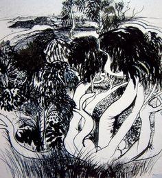 brett whiteley White Art, Black And White, Australian Artists, Designer Wallpaper, Fabric Material, Artist Art, Line Drawing, Notebooks, Printmaking