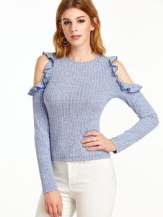 Blue Marled Ribbed Knit Open Shoulder Ruffle T-shirt