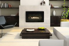 20+ Modern Gas Fireplace Design : Decorations Beautiful Rectangle Contemporary Ventless Gas Fireplace Idea With Enchanting Walnut Coffee Table And Chic Bookshelves Contemporary Fireplace Ideas