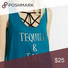 Express One Eleven Tequila and Tacos Tank Margarita night should be every night! Soft modal blend tank shines with a metallic graphic, perfect for an after work pick me up with the girls! Express Tops Tank Tops