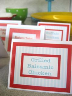 Food Labels to Match Birthday Banner  Tent Labels Party by Devany, $12.00