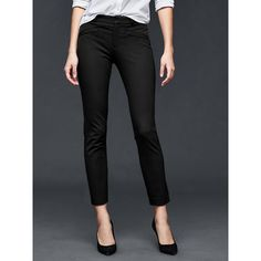 Gap Women Bi Stretch Skinny Ankle Pants ($48) ❤ liked on Polyvore featuring pants, capris, tall, true black, zipper pants, slim-fit trousers, super skinny pants, gap pants and petite skinny pants