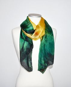 Hand Dyed Silk Scarf Yellow emerald green. Gift for Mother. Gift idea for her. Bright scarf. Women accessory. Soft scarf. Ready to ship