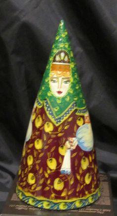 Vintage Russian Nesting Doll Cone- Shaped 3 Pcs From Yoshkar-Ola Signed 1992