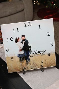 DIY picture clock plus 30 other homemade gifts for your girlfriend that she'll love: http://www.thesawguy.com/31-thoughtful-homemade-gifts-for-your-girlfriend/