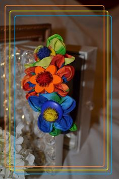 Flower Headband with A Rainbow of Color by pdqt12 on Etsy, $6.00