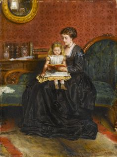 A Captivating Story. George Goodwin Kilburne (British, 1839-1924). Oil on board. Kilburne's paintings often portrayed the upper classes and ultra-fashionable female beauties in opulent late 18th and early 19th-century settings. His depiction of this...