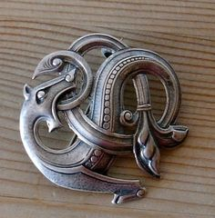 Uni sterling dragonstyle dragestil brooch Norway