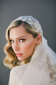 Juliet Cap Headpiece-Art Deco Veil-Woodland Crown-Chapel Length Veil-Veiled Beauty-Halo Crown-Gatsby Headpiece-Soft Veil- 1515 – Famous Last Words Gatsby Headpiece, Flower Headpiece, Juliet Cap Veil, Chapel Length Veil, Wedding Hairstyles With Veil, Wedding Hair And Makeup, Hair Wedding, Party Wedding, Bridal Makeup