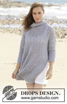 Beach Breeze jumper with lace pattern, split and turtle neck by DROPS Design  Free Knitting Pattern