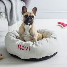 Personalised Linen Donut Dog Bed - gifts for your pet