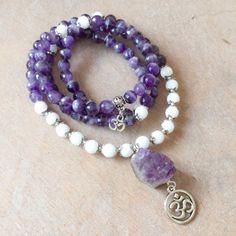 Amethyst Mala 108 Beads | Amethyst White Jade with Crystal Geode | Yoga Om Aum Bracelet | Meditation Prayer Beads Japa Mala by MayanRoseShop on Etsy Mayan Rose