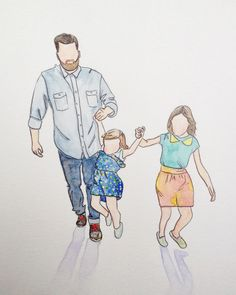 11x14 Custom watercolor portrait by yellowstring on Etsy