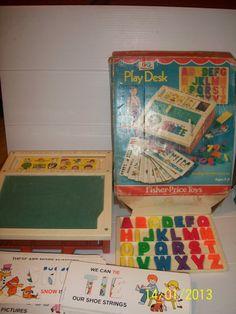 Joshua Vintage Fisher Price Play Desk 1972 Letters Chalkboard Tray in Original Box