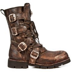 New Rock Boots Brown Steampunk Boots, 1473 Boots Planing Sole