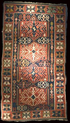 Antique Kuba kilim, Antique Caucasian Kuba kilim