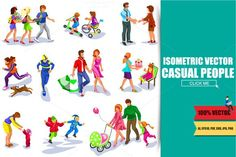 Flat Isometric Casual People. $8.00
