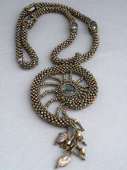 cubic right angle weave beadwoven spiral nautilus shell pendant necklace