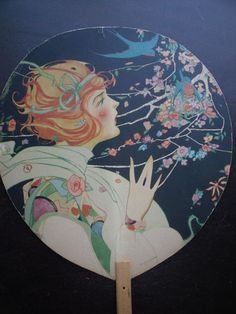 Henlith 1239 Vintage Hand Fan on Stick Art Deco Redhead Flapper Floral Bluebirds