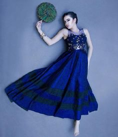 blue anarkali...loved the work on top