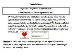 This is a characterization activity for The Cay. Students are asked to sketch four symbols for both Timothy and Phillip, and then find support in the book to demonstrate that trait.  The instructions include definitions of symbolism and characterization,