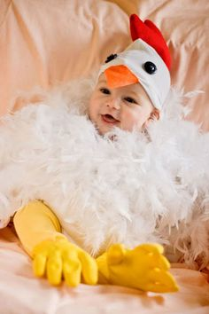 Does it get any cuter than a baby chicken?  Get the tutorial at Living the Swell Life.   What you'll need: onesies ($10 for 5; amazon.com), stuffing ($8; amazon.com), feather boa ($6; amazon.com), dish gloves ($7 for 6; amazon.com), felt ($11; amazon.com), buttons ($1.50; amazon.com)