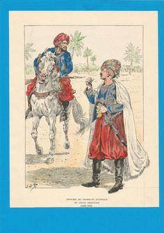 France-Planche de JOB - 1832 1834 - Chasseurs d'Afrique - en costume oriental.