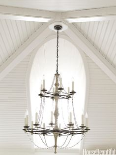 amazing ceiling.  an equally amazing chandelier.