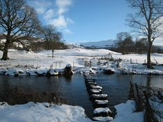 This is a lovely shot of the countryside near Ambleside, in the Lake District Yorkshire Dales, Yorkshire England, England Uk, Ambleside Lake District, Places Around The World, Around The Worlds, Moon Over Water, Winter Scenery, Snow Scenes