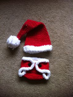 Newborn Santa hat and diaper cover Photography prop Christmas hat. $32.00, via Etsy.