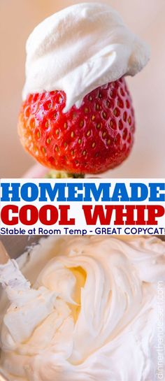 Homemade Cool Whip that is stable and can be frozen and defrosted like the store bought kind but made at home and SO delicious. Perfect for any recipes youre making that ask for Cool Whip! Sweet Desserts, Easy Desserts, Delicious Desserts, Yummy Food, Baking Recipes, Cookie Recipes, Dessert Recipes, Baking Tips, Dessert Ideas
