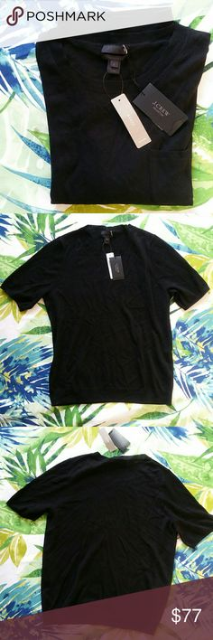 J. Crew Black 100% Italian Chasmere Pocket Tee NWT. Featherweight cashmere pocket tee shirt. J. Crew Tops