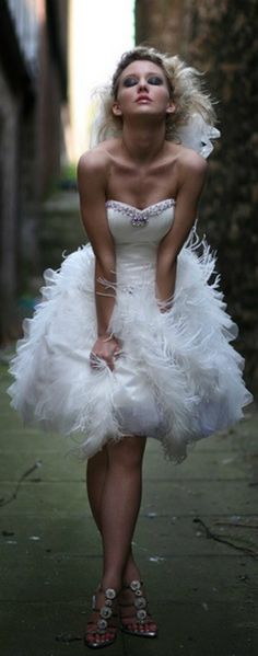 Get inspired: How about a short, fluttery #wedding dress for the chic, daring bride? ;)