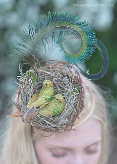 Bird Fascinator Hat, Kentucky Derby Hat, Race Hat, Headpiece One of a Kind, with Peacock Swords Ready to Ship by Ruby & Cordelia's Millinery $110
