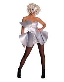 Celebrate the Queen of Pop in this officially licensed Lady Gaga Silver Sequin Dress adult womens costume. Put on your poker face and just dance! You'll stand out in any crowd when you wear this'