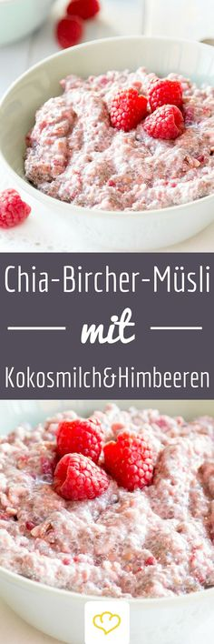 Chia-Bircher-Müsli mit Himbeeren und Kokosmilch Berry Bircher muesli – If Caribbean flair meets Swiss tradition, you can look forward to a pink bowl of happiness – the breakfast happiness to be exact. For little and big girls. And for boys, of course. Healthy Breakfast Recipes, Brunch Recipes, Healthy Recipes, Desayuno Paleo, Coconut Milk, Food Inspiration, Fitness Inspiration, Food And Drink, Yummy Food