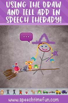 Using the Draw and Tell App in Speech Therapy to work on a variety of speech goals such as articulation, wh questions, sequencing, describing, sentence structure, and more!