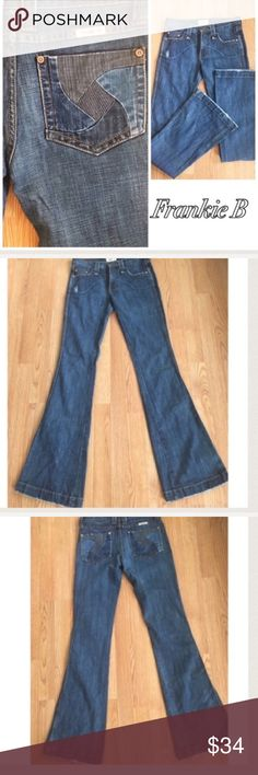 Frankie B Jeans Size 4 These are an awesome pair of Frankie B jeans.  Dark blue. Mild  factory distressing. Great condition. No flaws. Size 4. Inseam approximately 33 inches. 79% cotton/ 20% Polyester/1% spandex. Frankie B. Jeans Flare & Wide Leg