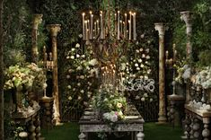 Organic centerpiece in a bucolic garden mood Vintage Candles, Garden Wedding, Wedding Centerpieces, Greenery, Floral Design, Candle Chandelier, Sacks, Holiday Decor, Gallery