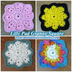 """meladorascreations: """" Lilly Pad Granny Square – Free Crochet Pattern & tutorials Right Handed https://www.youtube.com/watch?v=uNC8LKchwX4 Left Handed..."""