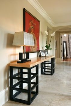 Miami-Hall - contemporary - hall - miami - Michael Abrams Limited custom table....could do charcoal bottom and white top?