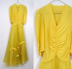 Vintage 1940's Yellow Ball Gown/Evening Dress by ParkwaterPrincess, $50.00