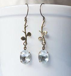 Vintage jewel earrings, crystal dangles, bridal earrings, brass floral stems, long