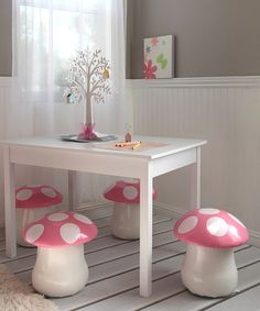 Sit in style with these comfy, kid's mushroom chairs. Constructed from durable, easy-to-clean materials and featuring a stylish design, it's a relaxation station that adds funky flair to either an indoor or outdoor oasis. Includes two chairsSeat height: 13''PolyurethaneImported
