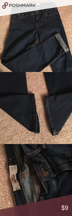 """Skinny hollister jeans These jeans have seen many winters and summer bonfires. Much loved with a tattered """"hollister"""" logo on the belt loop and some thinning in the thighs. Make me an offer! Hollister Jeans Skinny"""