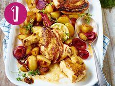 Poularde aus dem Ofen, bunter Pflücksalat, Blumenkohl-Käsesuppe, Kokosmilchreis und schnelle Nudeln sind meine Top 5 der Woche!