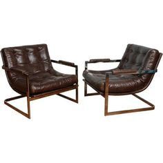 Image of Milo Baughman Style Leather Chrome Lounge - A Pair