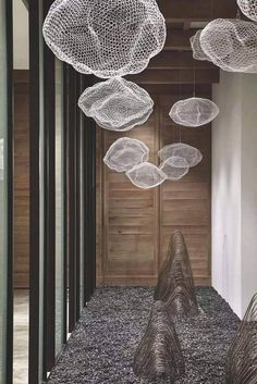 For Sale on - Unique chandelier where hundreds of small LED lights are combined with a handmade wire mesh sculpture shaped like a cloud. Six LED lights are mounted on Interior Lighting, Modern Lighting, Lighting Design, Office Lighting, Luxury Lighting, Lighting Ideas, Small Led Lights, Solar Lights, Lampe Art Deco