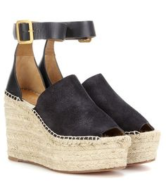 Chloé Isa Suede And Leather Wedge Espadrilles For Spring-Summer 2017